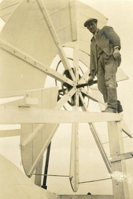 Man on fantail, Biggleswade Mill
