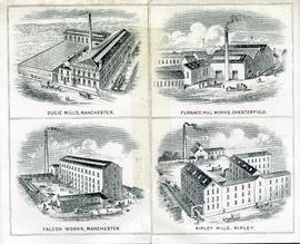 Insert of flyer for Morgan Crossley and Co Ltd showing the mills
