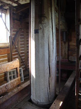 Main post on spout floor, post mill, Ramsey
