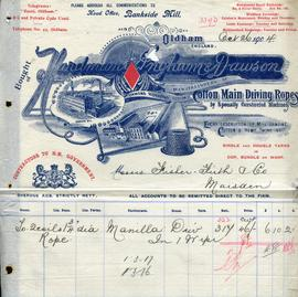 Billhead receipt of Hardman, Ingham and Dawson, rope manufacturers