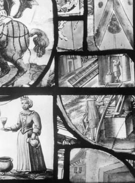 Oxburgh Hall, mill scene on window glass