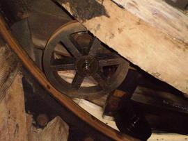 Truck wheel and curb, Impington Mill, Histon and Impington