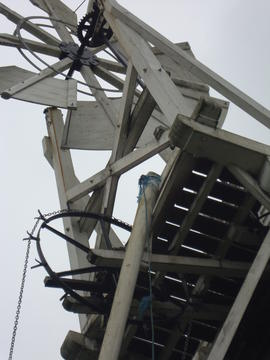 Looking up at fantail, fanstage, striking and winding gear, Polkey's Mill, Reedham