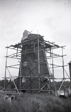 """Tower surrounded by scaffolding, Windmill at Arundel, Sussex"""