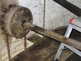 Sack hoist drive pulley, Hoyle's Five Sailed Mill, Alford
