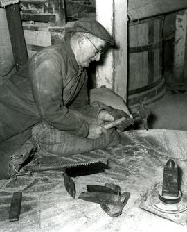Horstead Mill, Norfolk, Jack Drayton dressing the stone