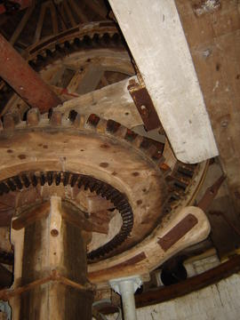 Windshaft, brakewheel, wallower and upright shaft, tower mill, Denver