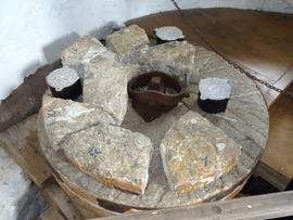 Millstone, showing mace and rynd, Sark Mill, Sark