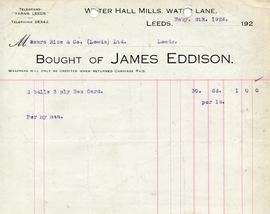 Billhead receipt of James Eddison of Water Hall Mill, Leeds