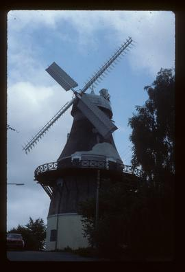 Preserved tower mill with sails