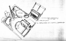 Architect's isometric drawing of mill site and houses