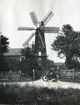 Coleby Heath Mill, Coleby, with Motorbike