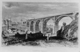 Engraving showing viaduct and mills, Ouse Burn Mills, Newcastle upon Tyne