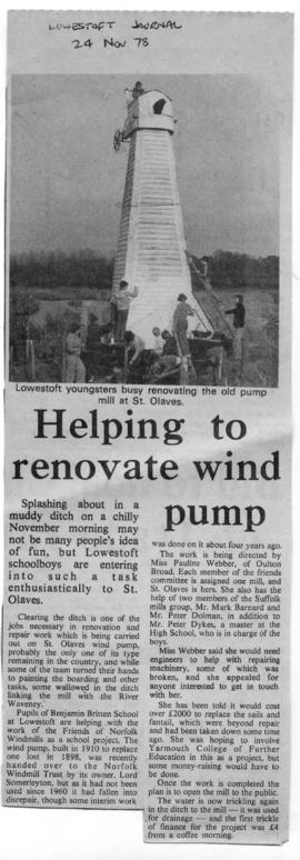 """Helping to renovate wind pump"""