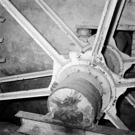 Detail view of wheelshaft as it passes through waterwheel, Godmanstone Mill, Godmanstone