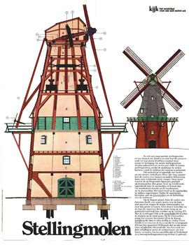 Section and elevation of Dutch smock mill
