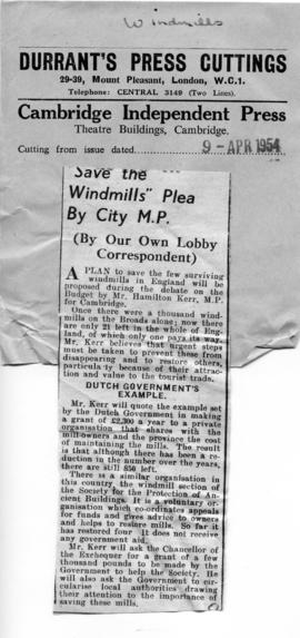 """ 'Save the mills' plea by City M.P."""