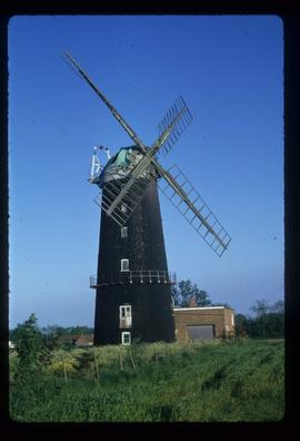 Tower mill, Caston, partially restored with sails