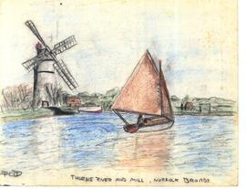 Thurne river and mill, Norfolk Broads