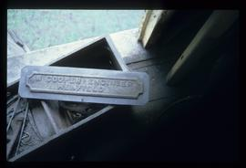 """W Cooper Engineer, Henfield"" plate inside building, smock mill, Buckland"