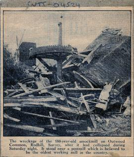 """The wreckage of Outwood smock mill"""