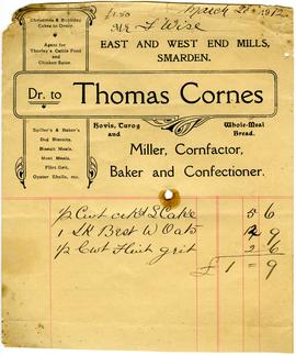 Billhead of Thomas Cornes, Smarden