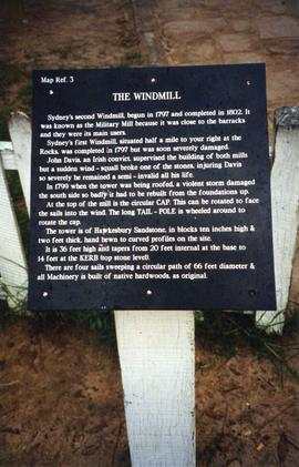 Photograph of the information board for Old Sydney Town windmill, Somersby, Australia