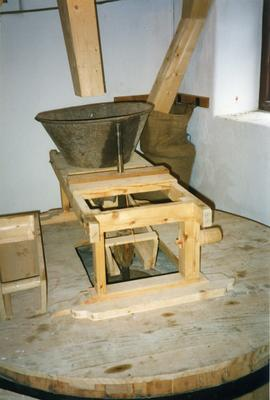Photograph of the hopper and stone setup, Skerries Mills, Dublin, Ireland