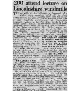 """200 attend lecture on Lincolnshire windmills"""