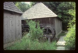 Pair of preserved watermills with wheels