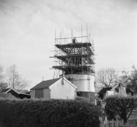 Saxtead Green Mill, Saxtead, scaffolded for repair