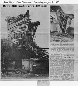 """Down Mill crashes after 230 years"""