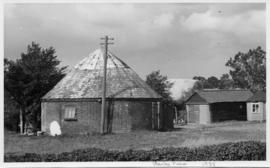 Roundhouse with roof, post mill, Chevington