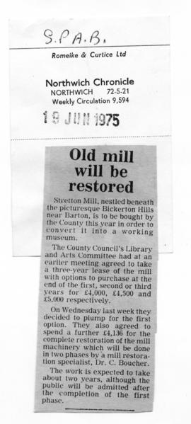 "Press cuttings""Old mill will be restored"""