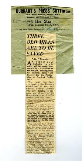 """Three old mills are to be saved"""