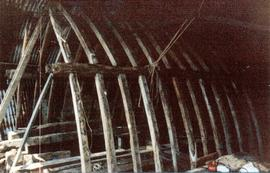 Roof timbers test-fitted in workshop, post mill, Chinnor