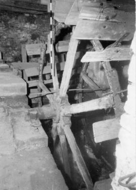 Waterwheel showing decayed buckets, Demesnes Mill, Barnard Castle