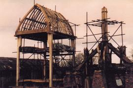Trestle and buck during reconstruction, post mill, Chinnor