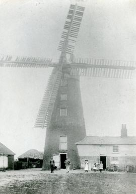Tower mill, Bradfield, in working order with gathered people