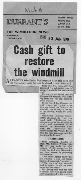 """Cash gift to restore the windmill"""