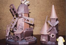 Photograph of two chocolate windmills
