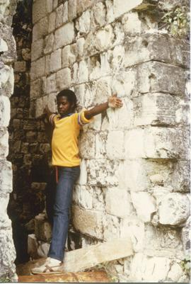 Jamaican boy outside Harthill Mill, Jamaica