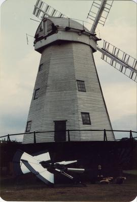Smock mill, Upminster, with fantail on ground