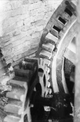 Spur gear meshing with pit wheel, tower mill, Fritton Marshes
