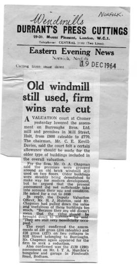 """Old windmill still used, firm wind rate cut"""