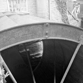 Detail of side of mill wheel, Pymore Mill, Bradpole