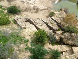 Remains of horizontal mill site at Chemtou, Tunisia.