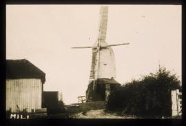 Post mill in working order with stocks and two sails