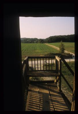 View through door in buck of restored post mill