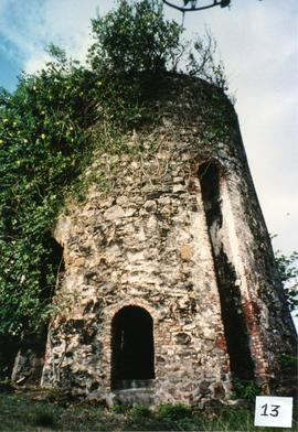 Photograph of a derelict tower at Sugar Mill Inn, St Vincent